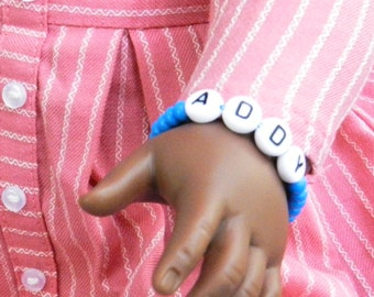 18 Inch Doll ID Bracelet, Personalized Bracelet American Girl Doll and Me Set Doll Jewelry