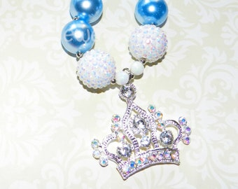 Chunky Bead Necklace Princess Crown White Blue Pearl Birthday Princess Necklace Little Girl Jewelry