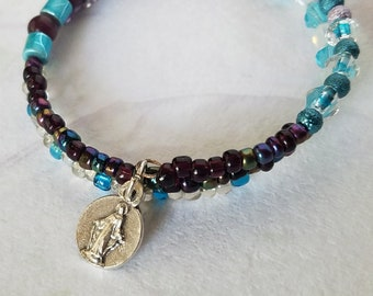 Memory Wire Bracelet, Purple, turquoise and clear Czech Glass Miraculous Medal Catholic Wrap Bracelet Artisan Jewelry Unique Gifts