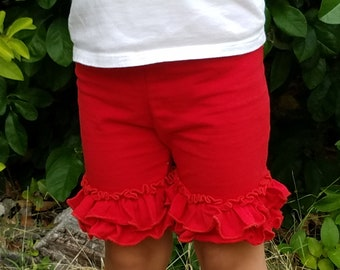 Ruffle Shorts Red Pink Ruffle Playground Shorts Girls Clothing Summer Little Girls Icing Ruffle Shorts Cotton Toddler Shorts Layering Shorts