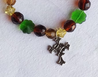 St. Patrick Irish Shamrock with Cross Charm Glass Bead Stretch Bracelet Clover Beads Gifts For Her