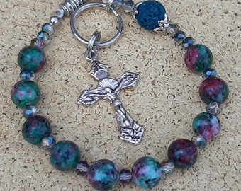 Rosary, One Decade On The Go Travel Rosary, Jasper And Lava Stone Catholic Rosary, Car Rosary
