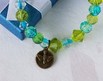 Catholic Jewelry Holy Spirit Medal Blue and Green Catholic Bracelet Crystal Bead Gift For Goddaughter Confirmation Gift Sacrament Gift