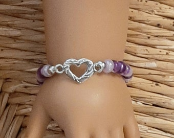 18 Inch Doll Heart Bracelet American Girl Doll Jewelry, Doll Accessories