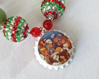 Christmas Nativity Bottle Cap Necklace, Chunky Beads, Child Necklace, Holly Babes