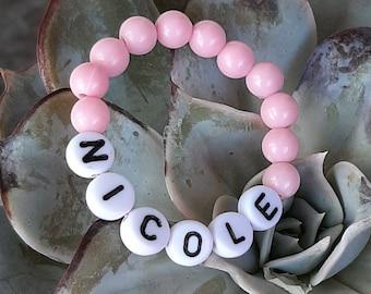 Baby Girl Bracelet, Personalized Newborn Retro Style Pink Baby ID Round Bead Bracelet