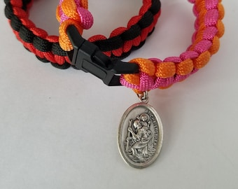 Travel / Survival Bracelet, Paracord Bracelet With Saint Christopher Medal