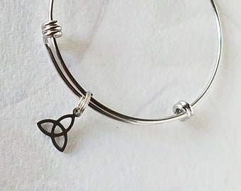 Faith Bangle Bracelet Celtic Knot, Cross Charm Stainless Steel Charm Bracelet Catholic Charms Jesus Mary Hypoallergenic Add a Charm Bracelet