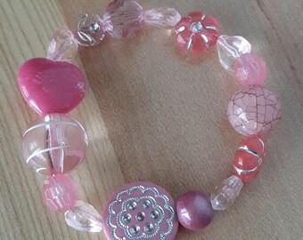 Heart Bracelet Valentine Jewelry, Little Girls Valentine Gift Pink Heart Stretch Bracelet