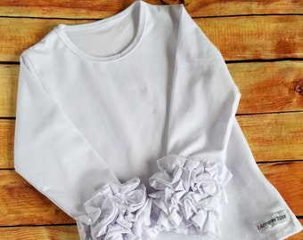 Girls Icing Ruffle Shirt White Ruffle Long Sleeve Layering Top, Little Girls Tee Triple Ruffle T-Shirt, Boutique Clothing