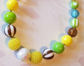 Chunky Necklace Yellow Green Blue Brown Chunky Bubblegum Bead Necklace, Child Necklace, Fall Photo Prop, Baby Toddler Necklace