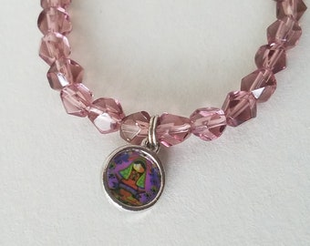 Our Lady of Guadalupe Mother Mary Virgencita First Communion, Baptism Children's Bracelet Glass Beads, Stretch Bracelets With Mary Charm