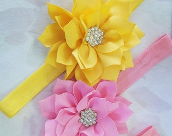 Flower Headband, Flower Bow, Rhinestone Center Choose Your Color Baby / Little Girls Christmas Accessory