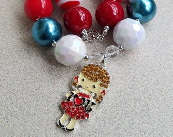 I LOVE YOU Necklace, Bubblegum Bead Chunky Necklace With Rhinestone Pendant, Red Blue Girls Chunky Necklace