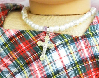 18 inch Doll Necklace American Girl Doll Accessory Crucifix First Communion Doll Necklace, Birthday Gift Catholic Doll, Wedding Doll