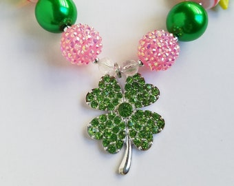 St Patrick's Day Chunky Necklace For Girls Pink Green Clover Pendant Bubblegum Necklace St Patricks Outfit Shamrock Pendant