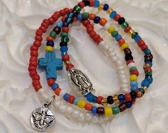 Our Lady of Guadalupe Fall Catholic Bracelet Charm Stacking Bracelets Set Stackable Bracelets