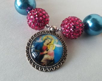 Our Lady of Perpetual Help Mother Mary Catholic Image Pendant Chunky Necklace Religous Jewelry Girls Jewelry Catholic Gift for Her