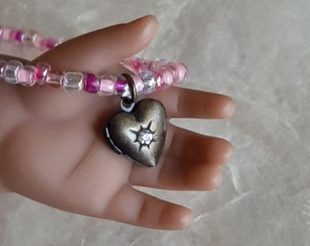 18 inch Doll Jewelry American Girl Doll Heart Locket Pendant Necklace, Pink Necklace Doll Accessories