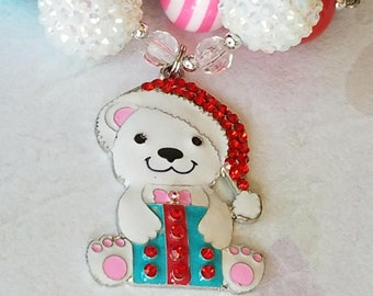 Chunky Bead Little Girls Pink Christmas Gift Bear Necklace, Rhinestone Pendant, Christmas Bear, Santa Hat