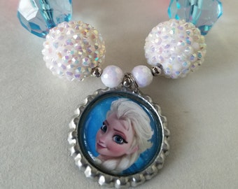 Elsa Frozen Necklace, Birthday, Bubble Gum Beads, Chunky Bead, Baby, Child, Disney Princess Party, Photo Prop