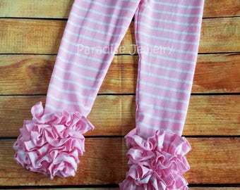 Pink Stripe Ruffle Leggings Girls Clothing Little Girl Soft Cotton Triple Ruffle Toddler Leggings Layering Pants