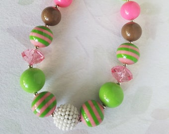 Little Girls Chunky Necklace Brown Green Pink Chunky Bubblegum Bead Necklace, Child Necklace, Photo Prop, Baby Toddler Necklace