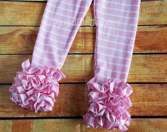 Pink Stripe Ruffle Icing Leggings Size 8 Girls Clothing Little Girl Soft Cotton Triple Ruffle Toddler Leggings Layering Pants