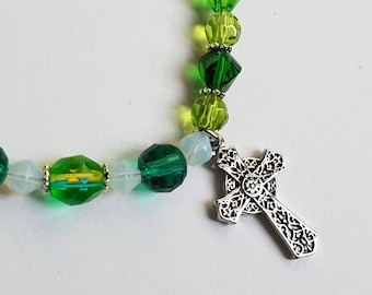 Essential Oils Bracelet, Oil Diffuser Lava Stone Celtic Cross Charm Bracelet, Green Glass Bead Bracelet, St Patrick's Day Gifts For Her