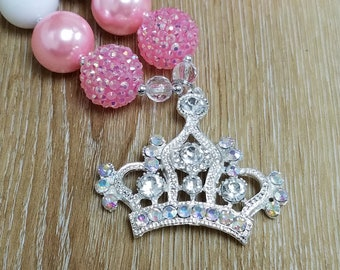 Pink Princess Crown Chunky Necklace Blue Pearl Bead Necklace Tiara Birthday Pendant Jewelry Photo Prop