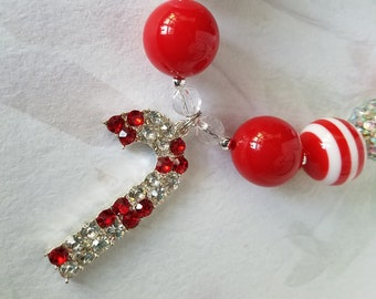 Christmas Candy Cane Necklace, Rhinestone Pendant, Bubblegum Beads, Girls Chunky Necklace Red White Silver Christmas Jewelry Candy Pendant