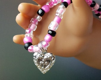 18 inch Doll Jewelry American Girl Doll Heart Cross Pendant Necklace, Pink And Black Necklace Doll Accessories