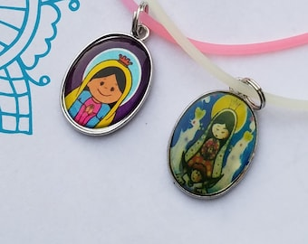 Girls Our Lady of Guadalupe Mother Mary Virgencita Plis Pendant Stretchy Cord Necklace, First Communion Baptism Necklace