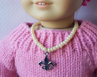 18 inch Doll Golden Pearl Fleur De Lis Doll Necklace, American Girl Doll Accessory Birthday Gift, Wedding Doll