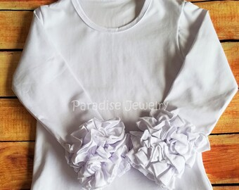 Triple Ruffle Layering Top, *Pre-order* Girls Fall Icing Ruffle Shirt, Toddler Boutique Little Girls Long Sleeve Soft Cotton White