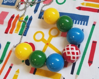 Chunky Bubblegum Necklace, Primary Color Little Girls School Days Necklace