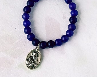 Sacred Heart and Immaculate Heart Medal Purple Jade Bracelet Gemstone Bracelet 8mm Round Beads Elastic Bracelet Charm Gemstone Bead Bracelet