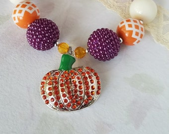 Little Girls Fall Chunky Necklace Pumpkin Patch Thanksgiving Fall Harvest