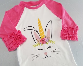 Little Girls Easter Top, Unicorn Bunny Raglan Shirt, Girls Tee, Boutique Clothing Ruffle Raglan