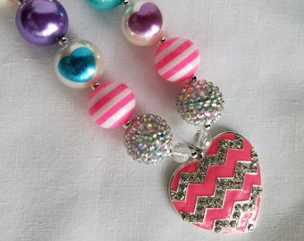 Necklace Bubblegum Beads Conversation Heart Chevron Heart Rhinestone Pendant Gift For Toddler, Little Girls