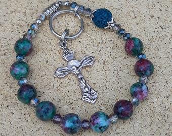 Rosary, One Decade On The Go Travel Rosary, Jasper And Lava Stone Catholic Rosary, Car Rosary