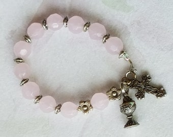 First Holy Communion Gift Godchild Catholic Rosary Bracelet Chalice Charm Cross Charm Pink Glass Bead Pink Bracelet Communion