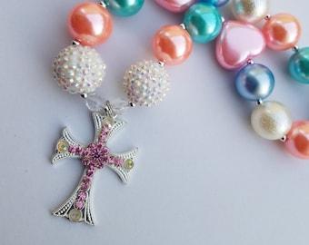 Little Girls Pastel Pearl Heart Chunky Bead Rhinestone Cross Princess Necklace, Easter, Birthday Photos, Baptism Gift