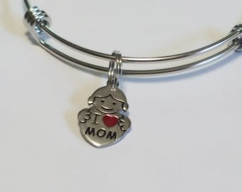 Hypoallergenic Stainless Steel Charm Bracelet, Unicorn, Llama, Adjustable Bangle Add A Charm Jewelry