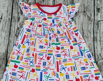 Little Girls Flutter Sleeve Soft Cotton Dress, School Days Playground Dress Cut Paste Color Boutique Clothes