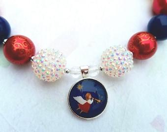 Christmas Angel Bubblegum Necklace, Chunky Bead Angel Pendant, Trumpeting Angel Christmas Jewelry,  Angel Gabriel Christmas Necklace
