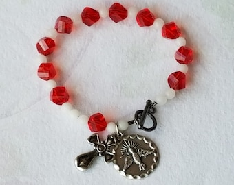 Rosary Bracelet Catholic Confirmation Holy Spirit Medal Charm Red White Glass Beaded Bracelet Confirmation Gift New Catholic Gift