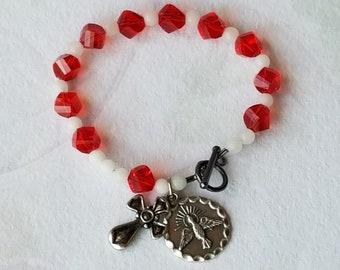 Rosary Bracelet Catholic Confirmation Holy Spirit Medal Charm Red White Glass Beaded Bracelet Confirmation Gift New Catholic Gift