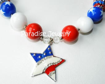Patriotic Bubblegum Bead Necklace 4th Of July, Chunky Red, White and Blue Rhinestone Pendant For Little Girls Star Flag Chunky Bead Necklace