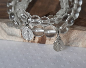 Mother Daughter Bracelet Set, Clear Glass Bead Miraculous Medal Bracelet